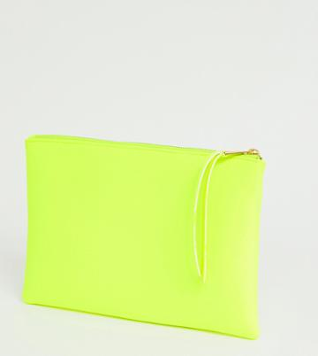 South Beach Exclusive Neon Yellow Clutch With Wristlet In Scuba - Yellow