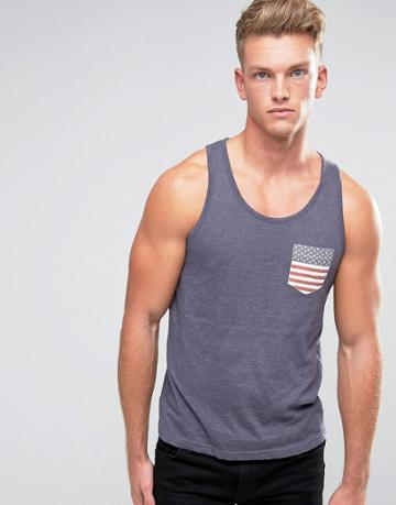 Brave Soul Usa Pocket Tank - Navy