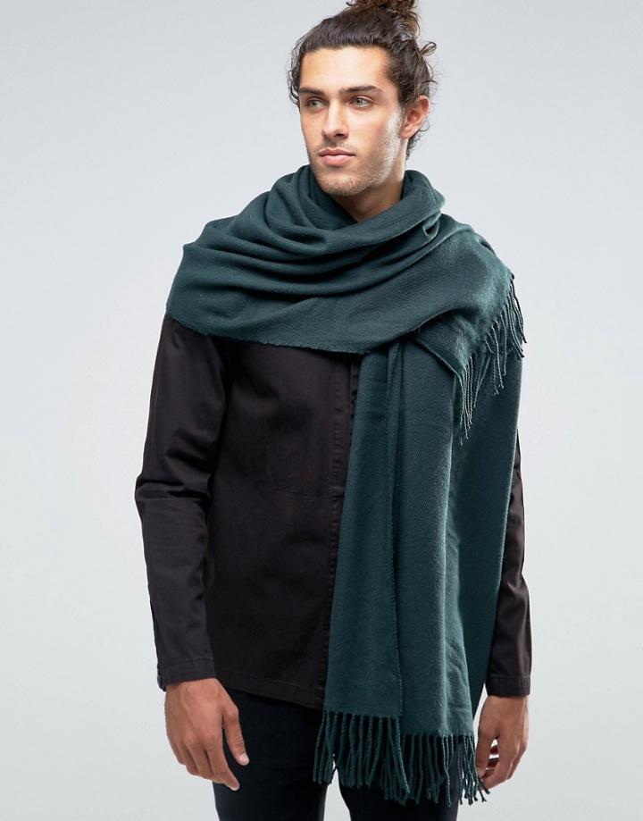 Asos Woven Blanket Scarf In Green - Green