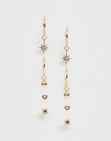 Asos Design Pack Of 4 Earrings With Engraved Sun And Star Designs In Gold Tone - Gold
