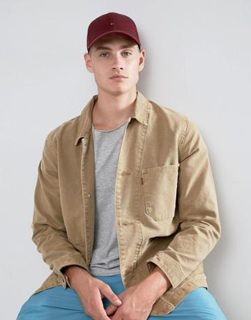 Tommy Hilfiger Logo Baseball Cap In Wine Red - Red