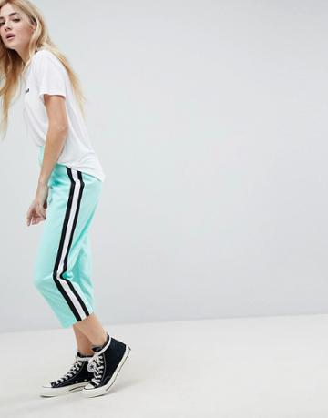Asos Cropped Track Pant Pants With Side Tape - Green