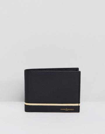 Noose & Monkey Leather Wallet With Gold Trim - Black