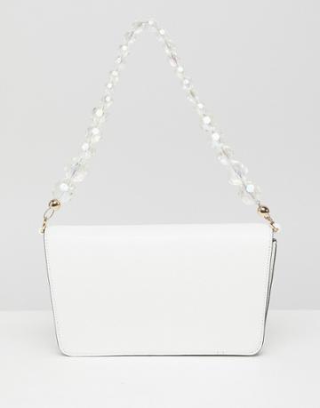 Asos Design Shoulder Bag With Beaded Strap - White