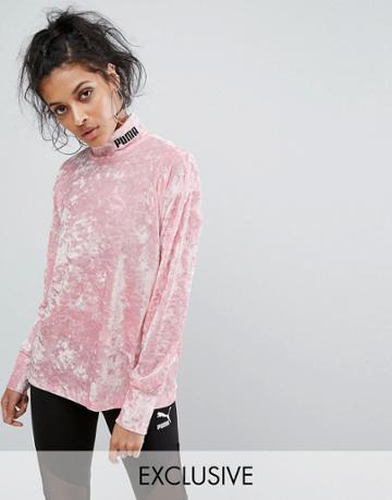 Puma Exclusive To Asos Velvet Sweatshirt - Pink