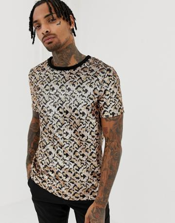 Jaded London T-shirt In Leopard Print Sequin - Gold