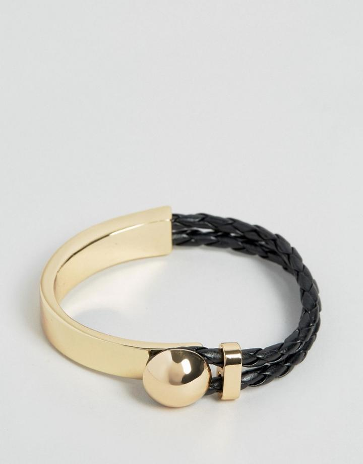 Asos Bangle With Braid And Metal - Gold