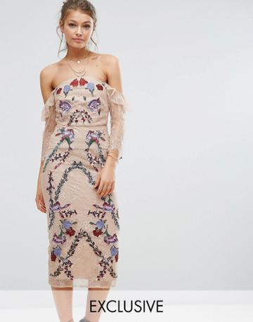 Hope & Ivy Off Shoulder Lace Midi Dress With Embroidery - Multi