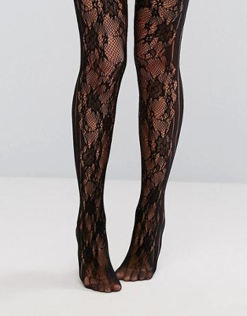 Ann Summers Stripe Floral Tights - Black