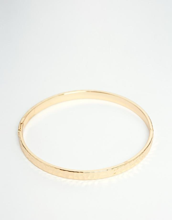 Asos Simple Bangle In Shiny Gold - Gold