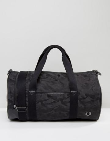 Fred Perry Camo Barrel Bag In Black - Black