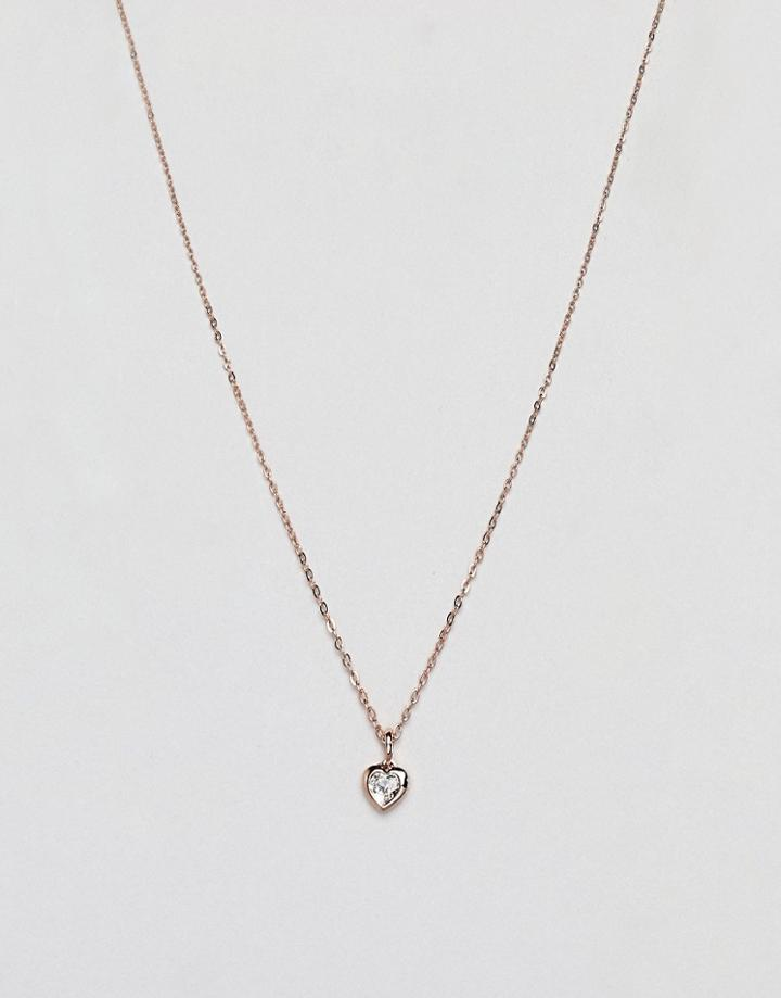 Ted Baker Rose Gold Crystal Heart Pendant Necklace
