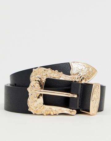 Asos Design Faux Leather Slim Belt In Black With Gold Western Buckle - Black