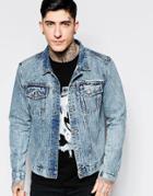 Dead Vintage Acid Wash Denim Jacket - Blue