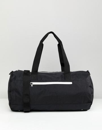 Asos Design Barrel Bag In Black With White Zips - Black