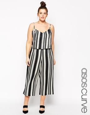 Asos Curve Linen Mix Culottes In Stripe