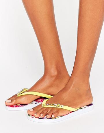 Floozie Yellow Flip Flops - Multi
