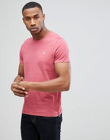 Abercrombie & Fitch Slim Fit Crew Neck Logo T-shirt In Red - Red