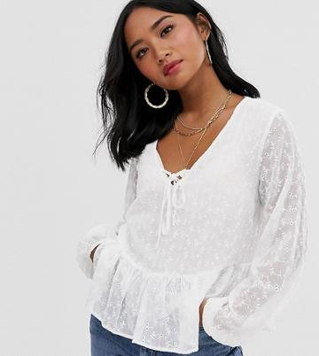 New Look Petite Tie Front Long Sleeve Shell Top In White - White