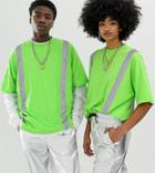 Collusion Unisex Washed T-shirt With Reflective Tape-green