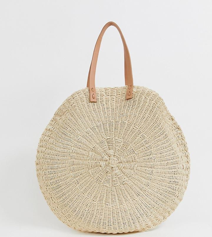 South Beach Exclusive Extra Large Straw Beach Bag - Beige