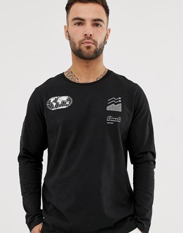 Jack & Jones Core Graphic Long Sleeve T-shirt In Black - Black