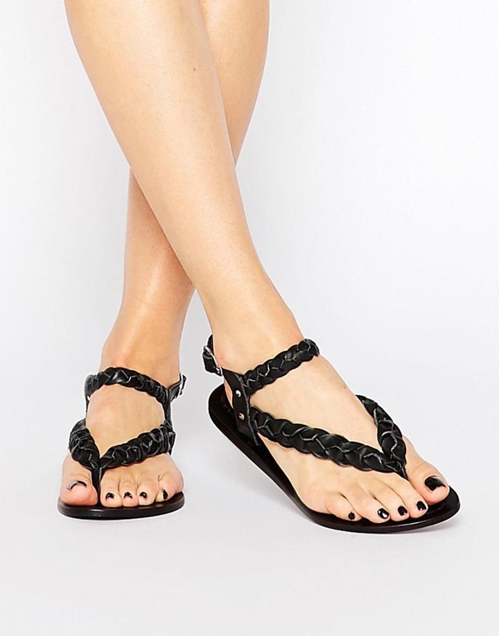 Park Lane Plaited Leather Flat Sandals - Black