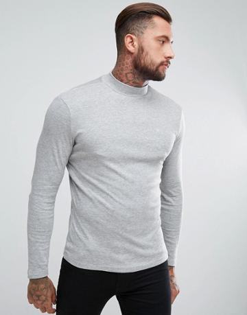 New Look Turtleneck Top In Mid Gray - Gray