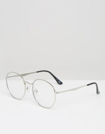 Jeepers Peepers Round Clear Lens Glasses In Silver - Silver