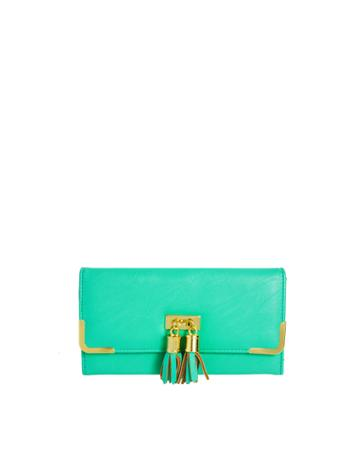 Asos Tassel Detail Purse With Metal Corners