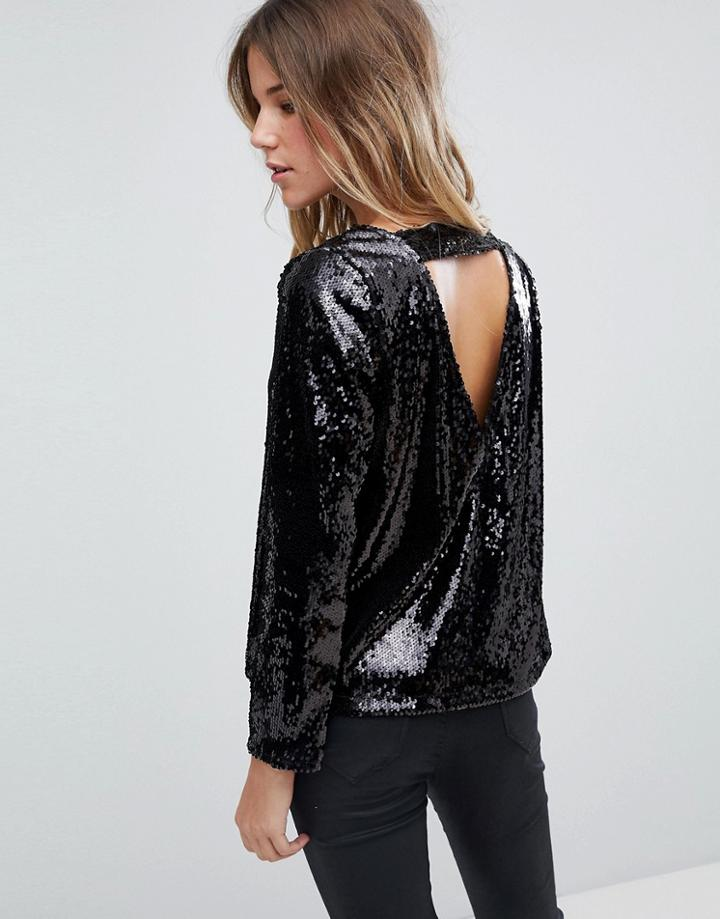 Boohoo Long Sleeve Sequin Open Back Top In Black - Black