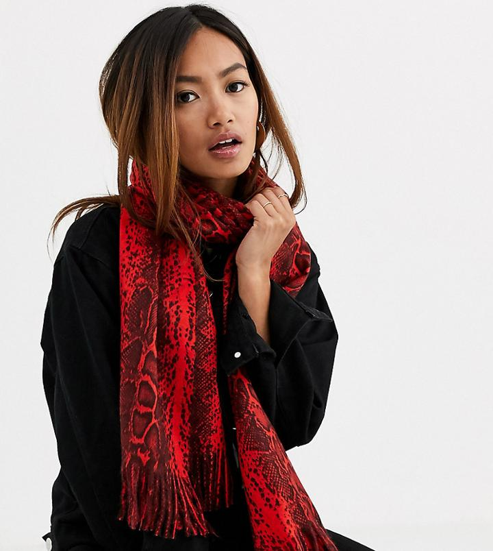 My Accessories London Exclusive Scarf In Red Snake