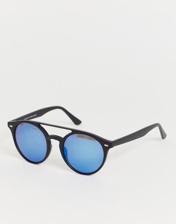 Bershka Oval Sunglasses With Brow Bar In Black - Black