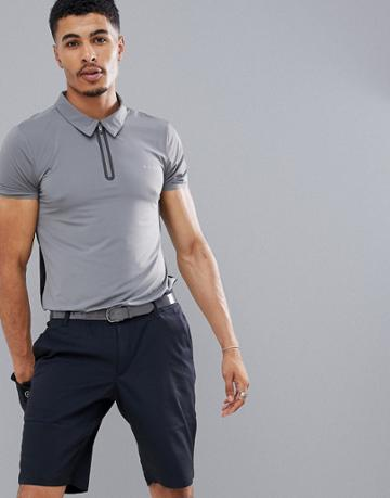 Asos 4505 Golf Polo With Bonded Zip In Gray - Gray