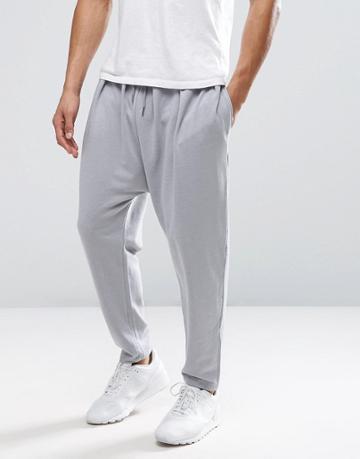 Asos Lightweight Drop Crotch Jogger In Gray - Gray