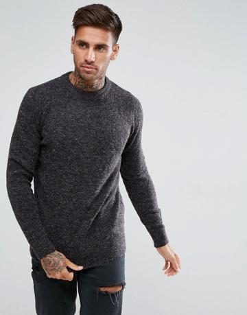 Pull & Bear Chunky Knit Sweater In Dark Gray - Gray