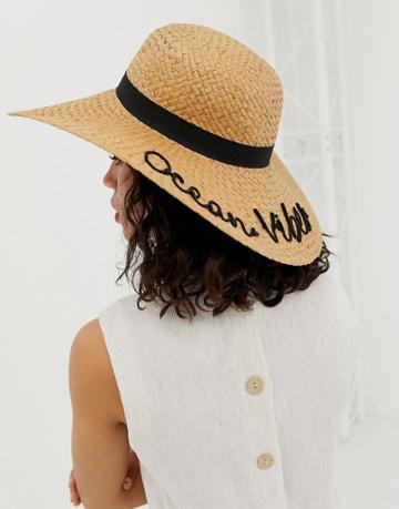 Pieces Ocean Vibes Straw Hat - Beige