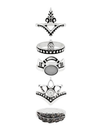 Accessorize Ethnic Silver Stacking Ring Set