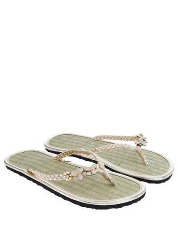 Accessorize Floral Charmy Seagrass Flip Flops