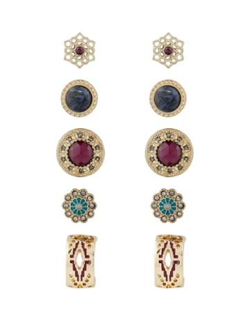 Accessorize 5x Boho Stud Earrings Set