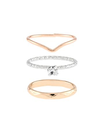 Accessorize Mixed Band Midi Ring Set