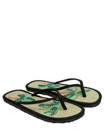 Accessorize Tropical Palm Tree Seagrass Flip Flops