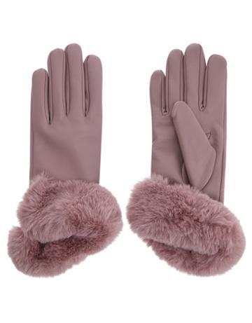 Accessorize Faux Fur Trim Leather Gloves