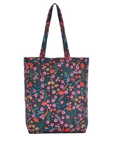 Accessorize Botanical Floral Packable Shopper Tote Bag