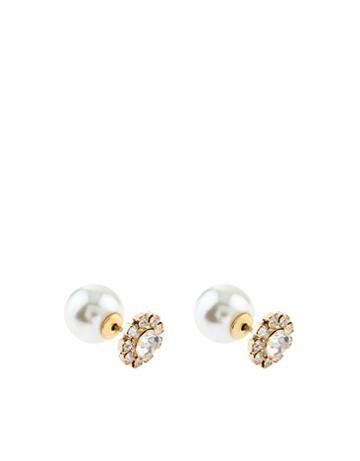 Accessorize Crystal And Pearl Front And Back Earrings