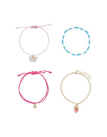 Accessorize 4x Butterfly & Owl Friendship Bracelet Pack