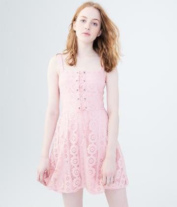 Aeropostale Aeropostale Solid Lace-up Fit & Flare Dress - Light Ping, Xsmall