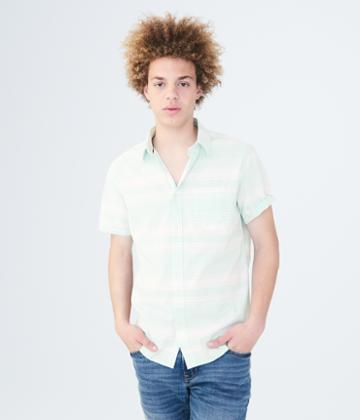 Aeropostale Aeropostale Horizontal Stripe Woven Shirt - Light Blue, Xsmall