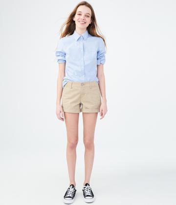 Aeropostale Aeropostale Twill Midi Shorts - Tan, 00
