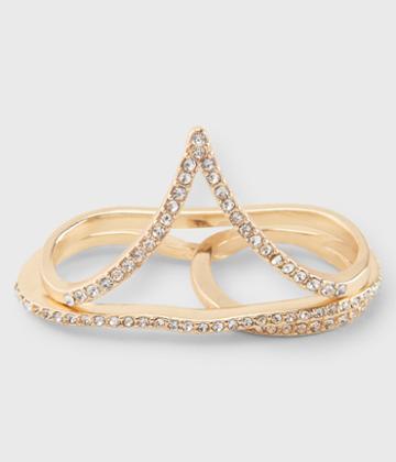 Aeropostale Aeropostale Rhinestone Double-finger Ring 2-pack - Gold, 6